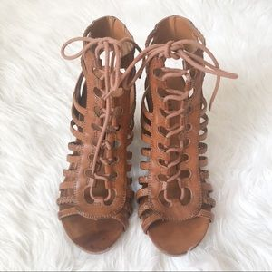 BAKERS Makala Lace Up Wedge Tan Size 9